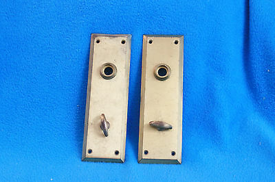 2 Vintage Brass Door Back Plates With Turn Key