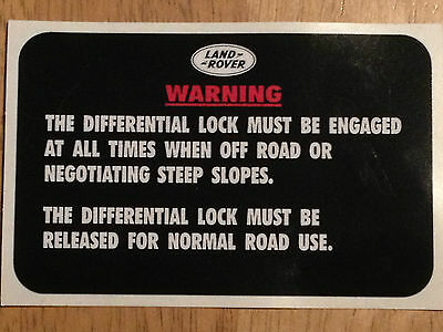 DEFENDER MILITARY LAND ROVER XD WOLF wmik  90 110 DIFF LOCK WARNING DECAL X1