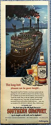 1956 Southern Comfort Paddle Boat Moonlit Trip Natchez Full Moon Old South ad