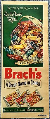 1954 Brachs Toffee Great Name In Candy Silver Basket Filled Smooth Chewin'  ad