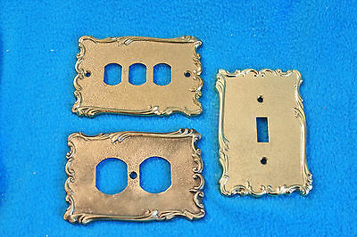 3 Vintage Brass Broadway Supply Co. Textured Switch Plate Covers