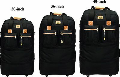 "30""/36""/40"", Expandable Rolling Wheeled Duffel Bag Spinner Suitcase Luggage"