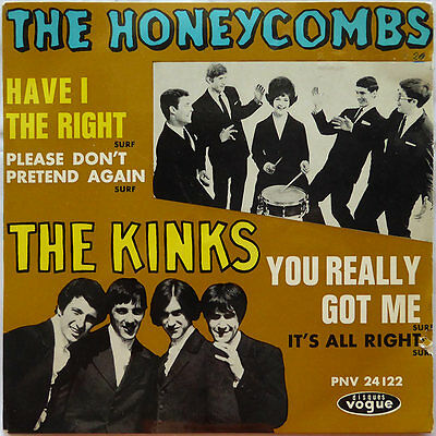 "7"" The Honeycombs / The Kinks - Have I The Right ? / You Really Got Me  TOP RARE"