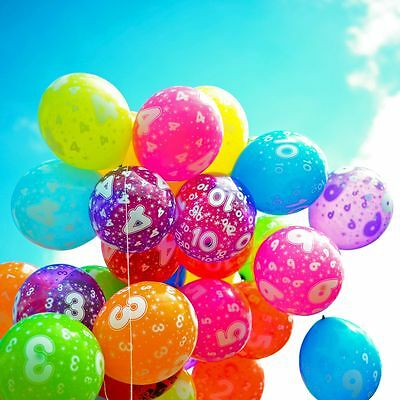 12 inches - Latex Balloons With Printed Numbers & Happy Birthday Party 10 Pcs