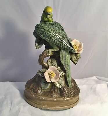 Vintage Green Yellow Parakeet Bird Statue Figure Figurine Flowers Sculpture Fig