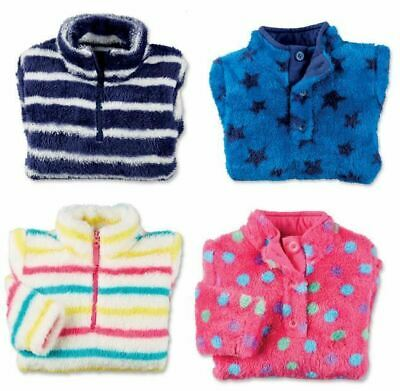 Boys Girls Childrens Fleece Top Thermal Top Plush Cosy Jumper Zip Top Sweatshirt