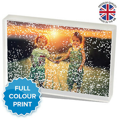 """Personalised Acrylic Photo Winter Snow Block Picture Gift Present   6 x 4"""" Inch"""