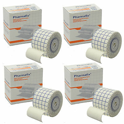 4 Rolls of C.M.S 5cm x 10m Pharmafix Non-Woven Fabric Latex Free Retention Tape