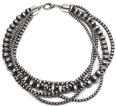"""18.5"""" Navajo Pearls Sterling Silver 5 Strand Necklace 91g"""