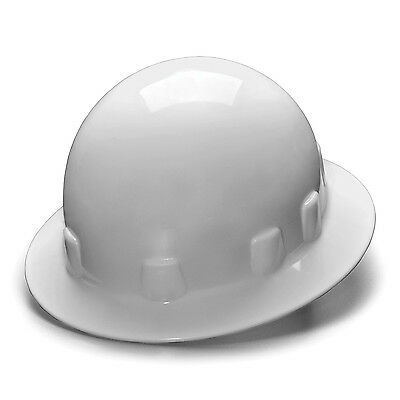Pyramex Hard Hat White SLEEK FULL BRIM With 4 Point Ratchet Suspension, HPS24110