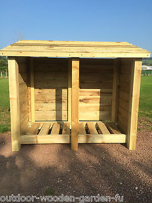 Heavy Duty 4 Ft Tall Double Bay Wooden Log Store