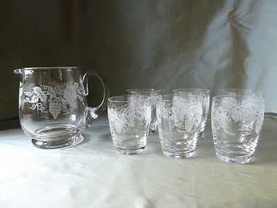 Stuart Crystal set of 6 glasses or tumblers and jug, etched grapevine