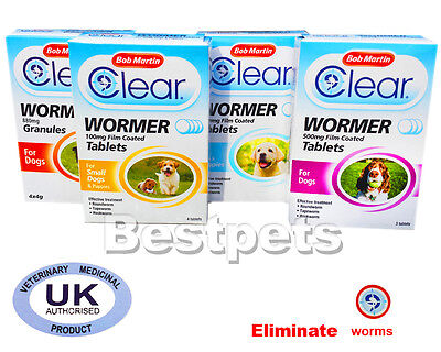 Bob Martin Clear Wormer Tablets For Dogs and Puppies,Granules,Treatment.Worming