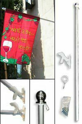 5ft Aluminum Garden Banner Residential Flag Pole Silver Ball with Bracket