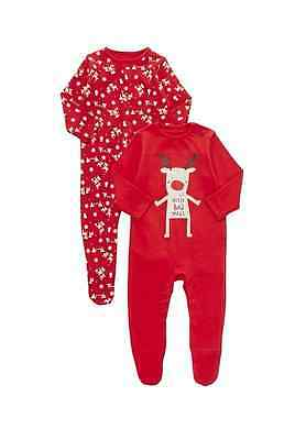 2 Pack of Christmas Reindeer  of Sleepsuits Size: Newborn - 24 Months