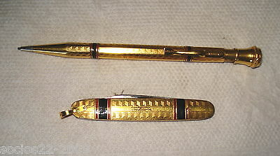 Knife And Pencil Set Gold 1/10 18 K Tow  And Enamel Blade Rostfrei