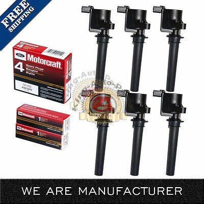 Set of 6 Ignition Coil & 6 Motorcraft SP493 Spark Plugs For Ford Mazda Mercury