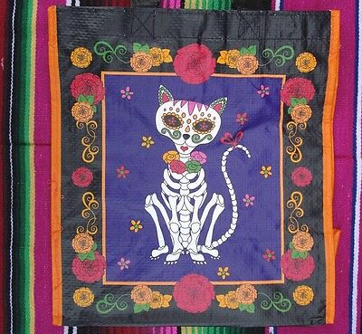 Day of the Dead Cat Reusable Shopping Grocery Bag Sugar Skulls Cats Feline