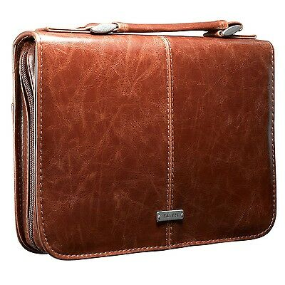 """Classic Bible / Book Cover w/ """"Faith"""" Badge (Large / Brown) Large"""