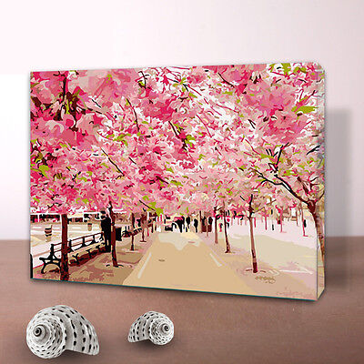 Pink Peach Blossom Road DIY Number Painting Wall Paint Decor Art Home Decal