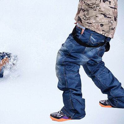 Outdoor Men Ski Snow Pants Denim Thick Warm Waterproof Travel Snowboard Jeans