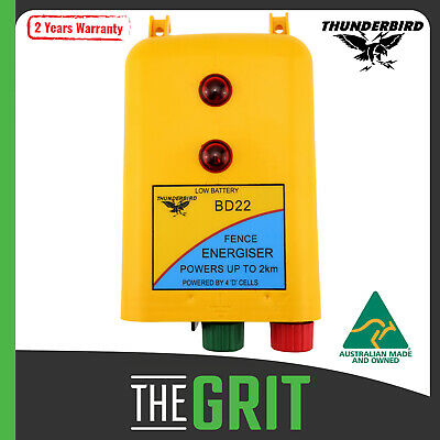 Thunderbird Battery Electric Fence Energiser BD20 2km 12 Volt & D Cell Batteries