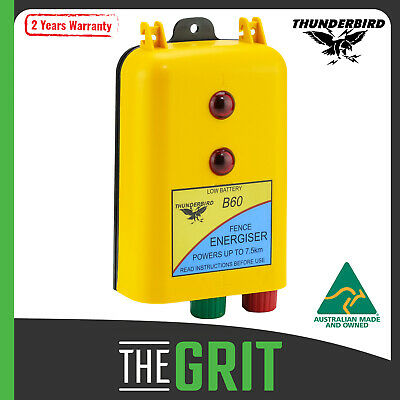 Thunderbird Electric Fence Energiser B60 7.5km Battery Powered 12 Volt Portable