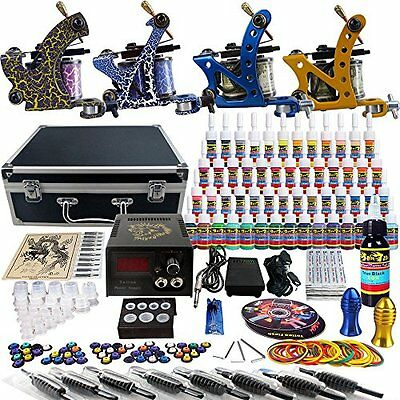 Solong Tattoo Complete Tattoo Kit 4 Pro Machine Guns 54 Inks Power Supply Foot
