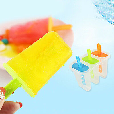 3 Cell DIY Mold Pop Popsicle Maker Lolly Mould Tray HomeFrozen Ice Cream New