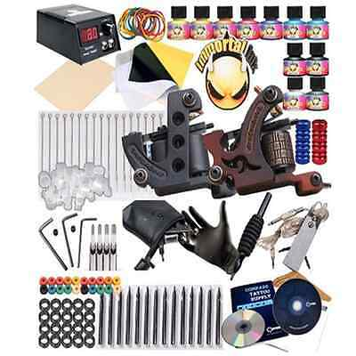 New Professional Complete Tattoo Machine Kit 2 Gun Tattoo Ink Power Supply Set
