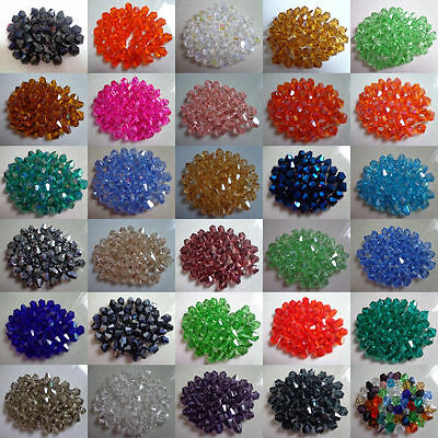 Wholesale!100-1000pcs 4-6mm swarovski crystal 5301# Bicone Beads,35 color .