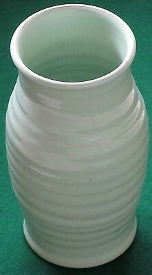 """Tall (10"""") Bourne Denby pottery Vase. Pale green. C 1950s."""