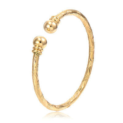 Toddler Jewelry Kids Girls Charm Yellow Gold Filled Bangle Bracelet Adjustable