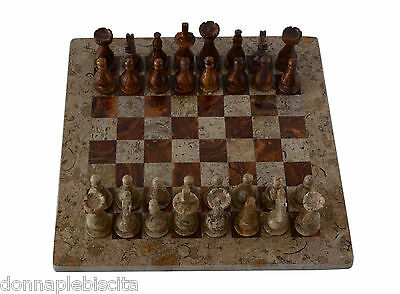 Scacchiera con Intarsi Marmo Onice Fossile Onyx Inlays Chessboard Chess 30x30cm
