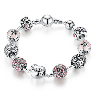 DIY European 925 Silver Charms Bracelet with Pink CZ beads For Women Christmas