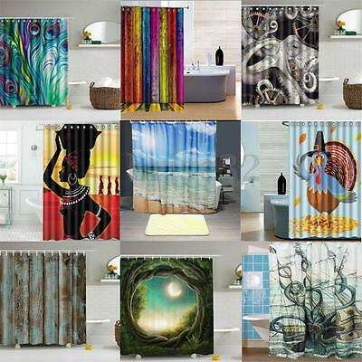 Abstract Waterproof Shower Curtain Bathroom Polyester Fabric Pattern & Hooks