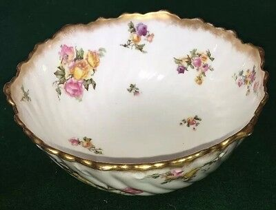 George Jones 'Crescent China' Floral Gold Rim Junket Bowl, C.1900