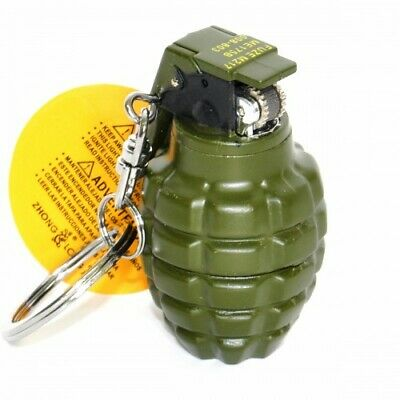 Grenade Novelty Gas Lighter Camouflage Mini Keychain Keyring Xmas Mens Gift
