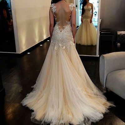 New White Ivory Lace Tulle Wedding Dress Bridal Gown Custom Size 6-8-10-12-14-16