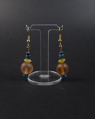 Superb ancient Roman champagne glass bead earrings, wearable