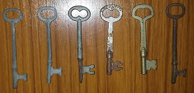 Lot 6 Vintage Keys Skeleton Door Cabinet Barrel Steampunk Industrial Lockwood