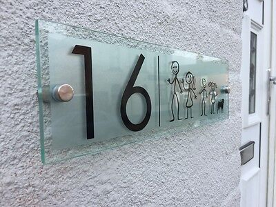 Modern House Sign Plaque Door Number / Family Glass Effect Acrylic Etched