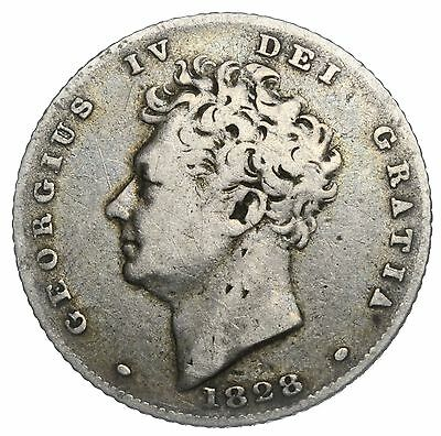 1828 Sixpence - George Iv British Silver Coin - Scarce