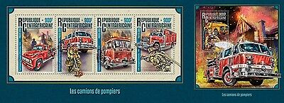Z08 IMPERFORATED CA16211ab CENTRAL AFRICA 2016 Fire trucks MNH Set