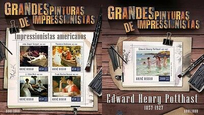 Z08 IMPERFORATED GB15803ab GUINEA-BISSAU 2015 American impressionists MNH Set