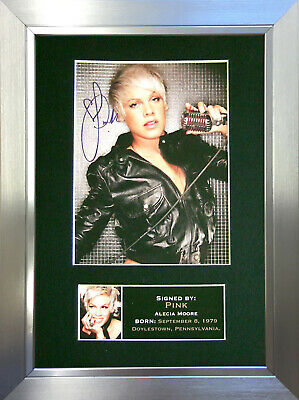 PINK Signed Autograph Mounted Photo Reproduction A4 Print 230