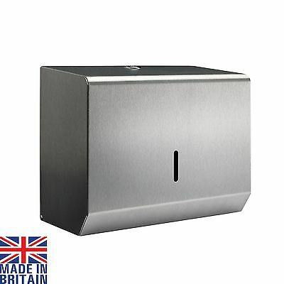 Small Hand Paper Towel Dispenser Brushed Polished Steel Metal C Fold Multifold