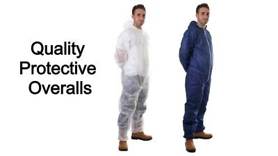 Blue Disposable Coveralls Overalls Boilersuit Hood Painters Protective Suit