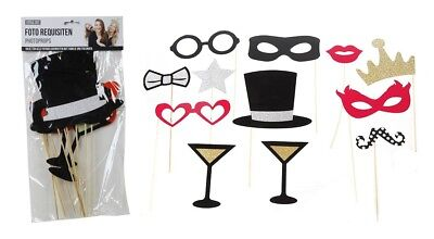 12tlg. Foto Requisiten / Photo Booth Set Silvester Fasching Hochzeit Party