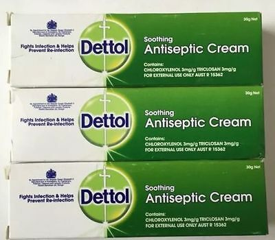 6 x Dettol Soothing Antiseptic Cream 30g x 6 Net Exp 01/2019- 6 x 30g Each